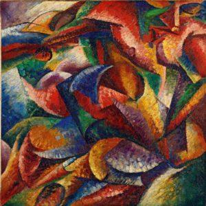 """U. Boccioni: """"Dinamismo di un corpo umano"""", dipinto del 1913. Milano, Museo del Novecento, Collezione Jucker"""