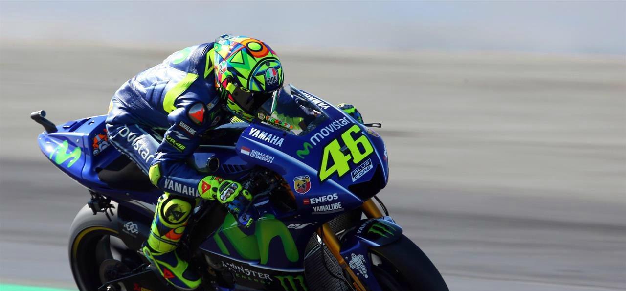 Valentino Rossi in pista ad Aragon.