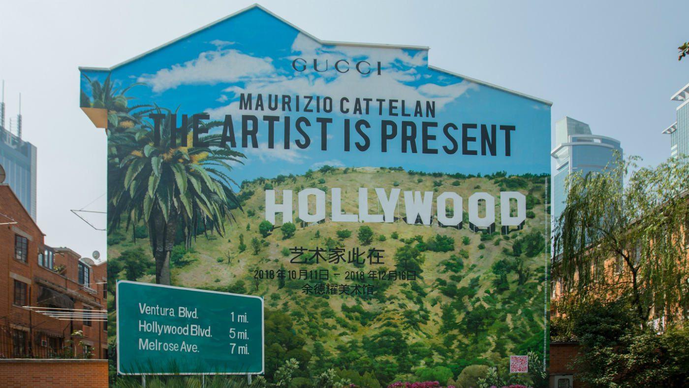Mame Moda Gucci e Cattelan, The artist is present. Murale ArtWall