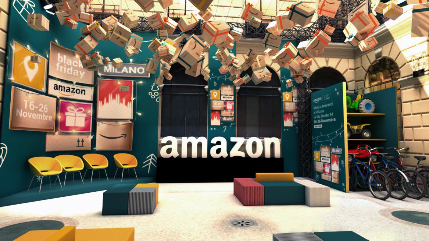 Mame Moda Amazon: pop-up store a Milano per il Black Friday. Interno pop-up store