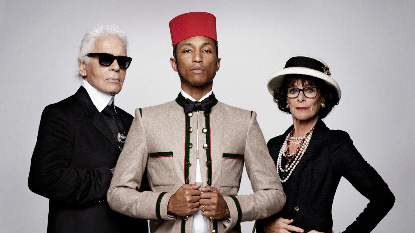 Mame Moda Chanel e Pharrell Williams: in arrivo co-lab. Lagerfeld, Williams e Chaplin