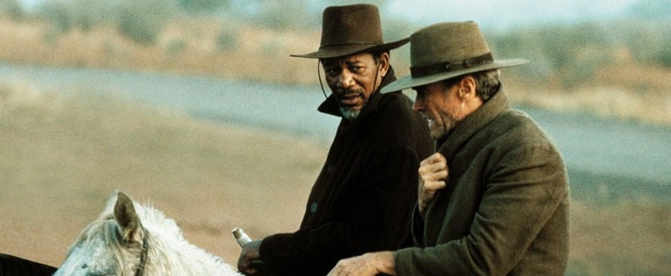 Morgan Freeman e Clint Eastwood in una scena de Gli Spietati, 1992