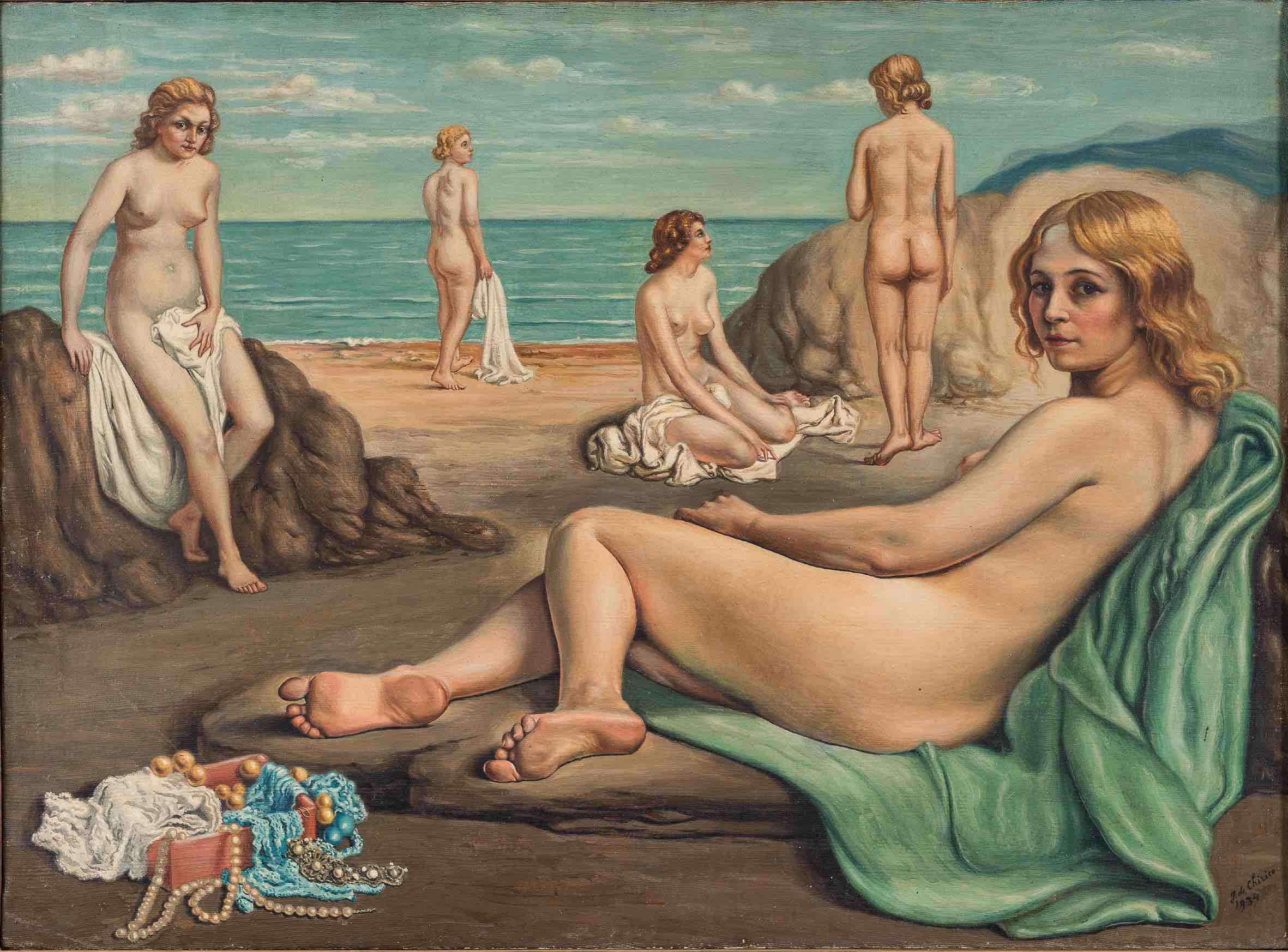 Mame arte MILANO OMAGGIA DE CHIRICO A PALAZZO REALE Giorgio de Chirico_ Bagnanti sopra una spiaggia
