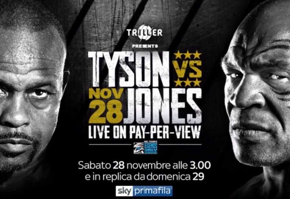 Mike Tyson quando e dove vedere il match: sky prima fila 29 novembre h 5.30