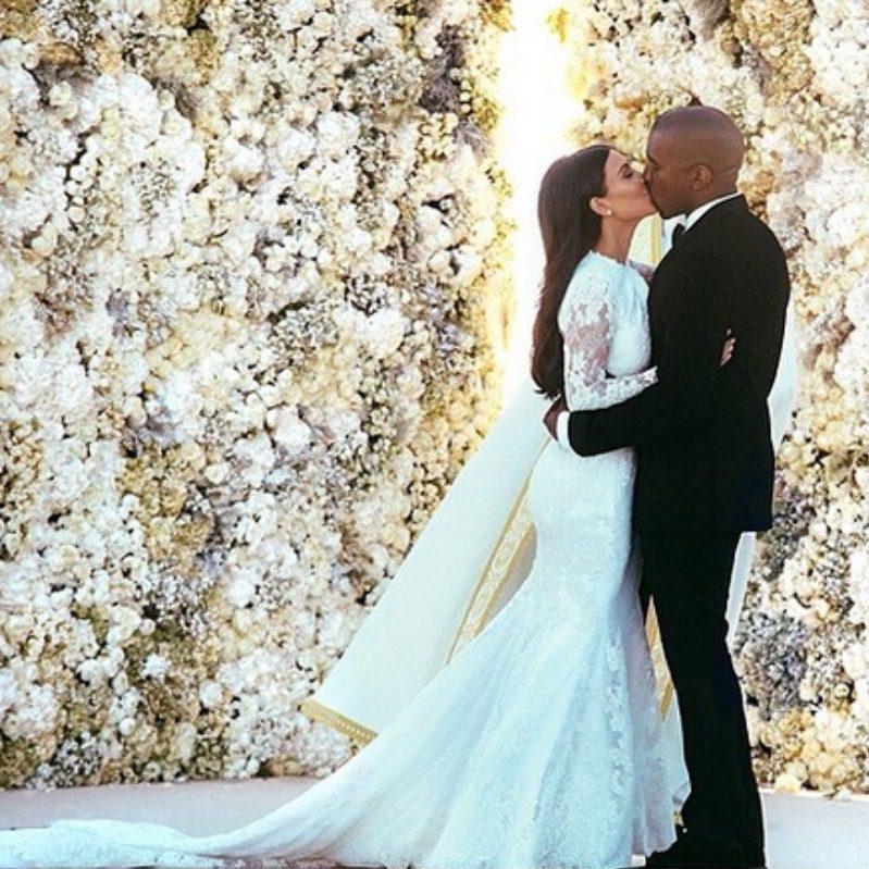 Kanye e Kim durante il loro matrimonio